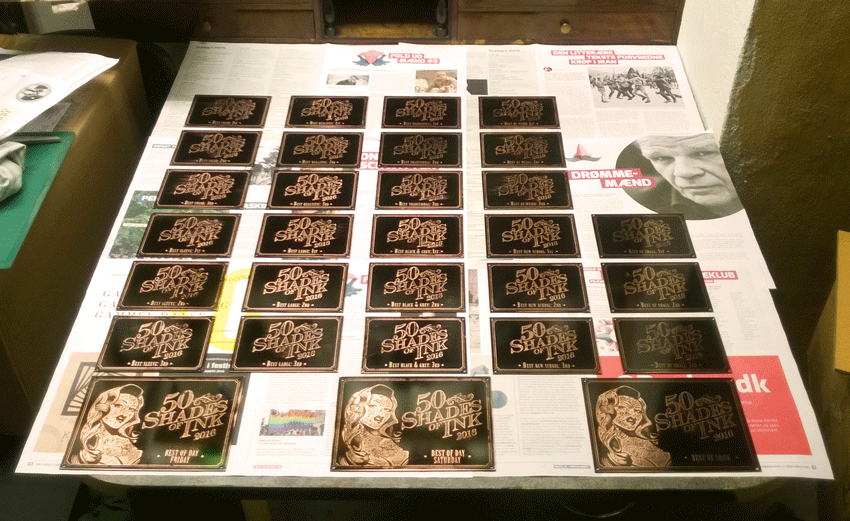 Electro-etching prizes in production